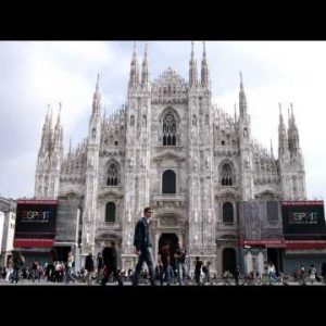 Royalty Free Stock Footage of Crowd in Milan Italy.