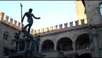 Royalty Free Stock Footage of Statue in a plaza in Bologna Italy.
