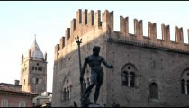 Royalty Free Stock Footage of Bologna Italy plaza with a statue.