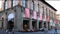 Royalty Free Stock Footage of Restaurant table out front of buildings in Bologna Italy.