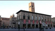 Royalty Free Stock Footage of Plaza at sunset in Bologna Italy.
