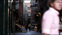 Royalty Free Stock Footage of Market in an alleyway in Bologna Italy.