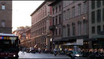 Royalty Free Stock Footage of Old city street at sunset in Bologna Italy.