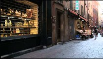 Royalty Free Stock Footage of Market in-between old buildings in Bologna Italy.