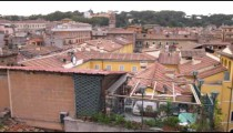 Panning shot of buildings in Rome Italy.