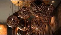 Shot of a chandelier in a fancy hotel in Rome Italy.