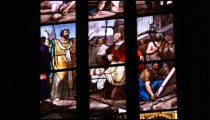 Stained glass window in and out of focus in Milan Italy.
