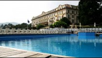 Shot of the Tremezzo Hotel on Lake Como in Italy.