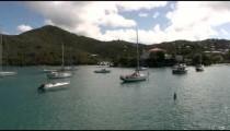Sailboats moored off the coast of a green island.
