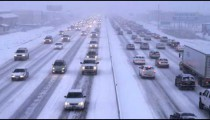 Shot of traffic in winter storm.