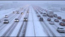 Clip of traffic in winter storm.