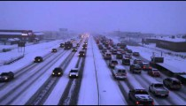 Shot of winter storm traffic.