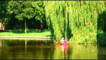 Two people paddling a canoe near a tree in Amsterdam.