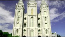 Front of the temple of the Church of Jesus Christ of Latter-Day Saints in SLC Utah.