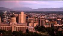 Pan of the Salt Lake City Utah skyline at dusk.
