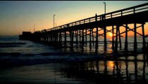 Time-lapse of a pier at sunset in California.