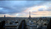 Time-lapse looking down Avenue d'Iena at the Eiffel Tower.