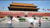 Time-lapse of building and crowd at Tiananmen Square China.