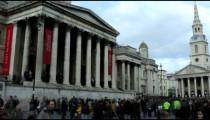Time-lapse pan of Trafalgar Square in London.