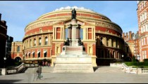 Time-lapse of Royal Albert Hall and statue in London.