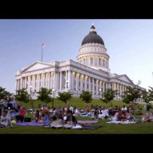 Time-lapse of people at a summer concert in SLC Utah.