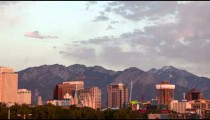 Time-lapse of the Salt Lake City skyline at sunset.