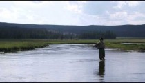 Man fly fishing in a stream.