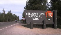 Shot of the Yellowstone National Park sign.