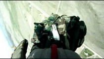 Parachutist jumping out of an airplane