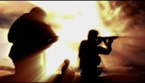Sepia shot of soldier practicing with live ammunition