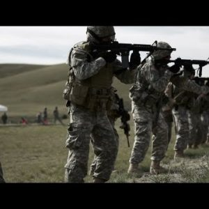 Soldiers participating in drill at firing range