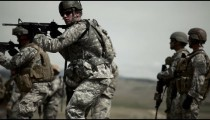 Green Berets turning and firing