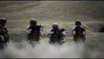 Stalking soldiers ready their weapons
