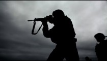 Soldier's silhouette at shooting range