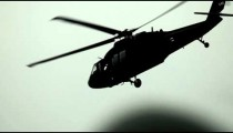 Black Hawk helicopter flying away