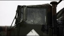 Troop transport vehicle in the rain.