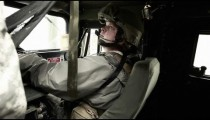 Shot in a Humvee including the turret gunner's legs.