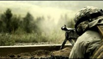 Super slow motion, soldier shooting chain gun.