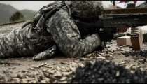 Soldier shooting machine gun from the ground