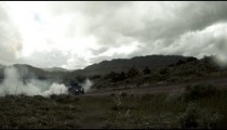 Time lapsed, Humvees and a covered truck forming a convoy