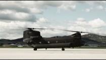 CH-47 Chinook Helicopter taking off.
