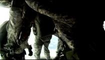 Time lapsed, footage from inside a CH-47 Chinook helicopter in flight.