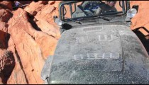 Jeep stuck at steep angle, Moab Utah