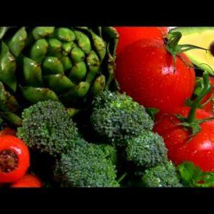 Assortment of vegetables rotating.