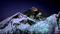 Time-lapse of Mount Everest at sunset.