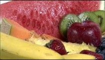 Rotating plate of assorted fruit.