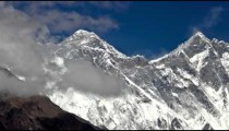 Time-lapse of clouds swirling around the tip of Mount Everest.