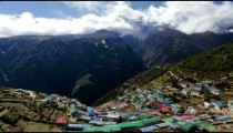 Time-lapse of the colorful mountainside village Namche Bazaar.
