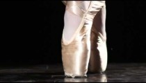 Close up of feet in ballet shoes