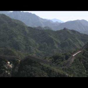 Panning shot of the Great Wall of China at Badaling near Bejing, China.